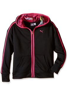 PUMA Little Girls' Hoodie with Contrast Taping Black