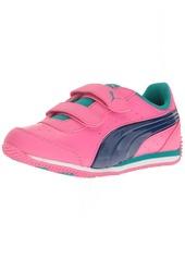 PUMA Girls Speed Lightup Power V PS Boat Shoe Shocking Pink-True Blue