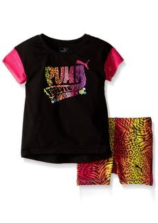 PUMA Little Girls' Toddler Top and Biker Short Set Black