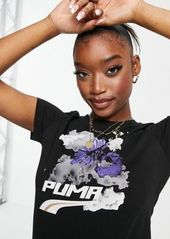 Puma graphic T-shirt in black and purple