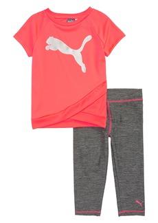 PUMA Graphic Top & Capri Leggings Set (Little Girls)