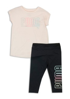 PUMA Little Girls Two-Piece Graphic Tee and Capri Leggings Set