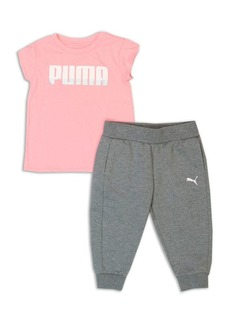 PUMA Little Girl's Two-Piece Logo Tee and Capri Jogger Pants Set