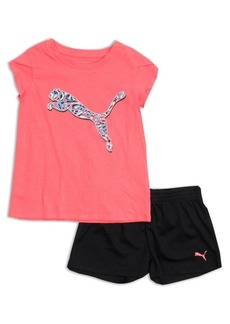 PUMA Kids Little Girl's Two-Piece Graphic Tee and Short Set