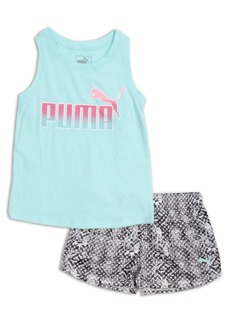 PUMA Kids Little Girls' Two-Piece Logo Tank Top and Printed Shorts Set