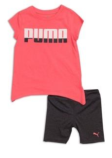 PUMA Kids Little Girl's Two-Piece Logo Tee and Biker Short Set