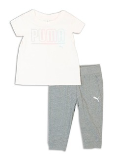 PUMA Kids Little Girl's Two-Piece Tee and Joggers Set