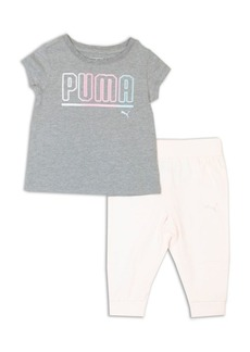 PUMA Little Girl's Two-Piece Logo Graphic Tee and Jogger Pants Set