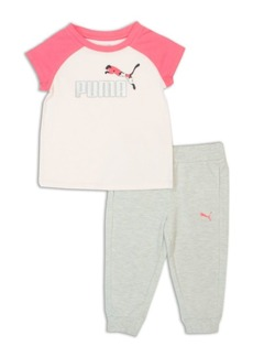 PUMA Little Girl's Two-Piece Logo Tee and Joggers Set