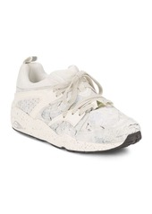 PUMA Leather-Blend Perforated Mid-Top Sneakers