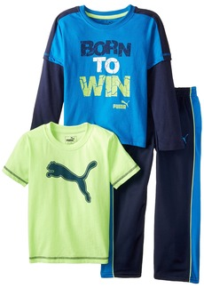 PUMA Little Boys' 3pc Long and Short Sleeve Tee Pant Set