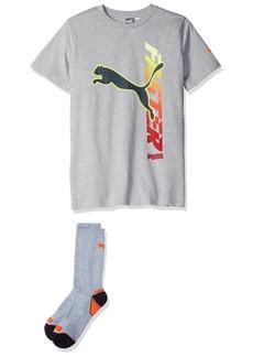 PUMA Little Boys' Graphic Tee and Sock Lt Grey Heather1