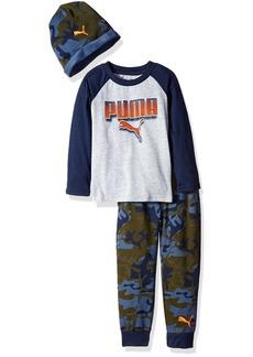 PUMA Little Boys' Three Piece Jogger T-Shirt and Hat Set