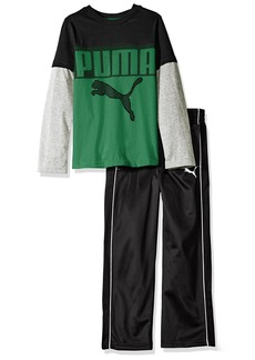 PUMA Little Boys' Toddler 2 Piece Long Sleeve Tee and Pant Set Black