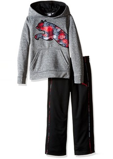 PUMA Little Boys' Toddler 2 Piece Tech Fleece Hoodie Wrapped Cat and Pant Set