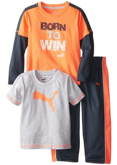 PUMA Little Boys' Toddler 3 Piece Long and Short Sleeve Tee Pant Set