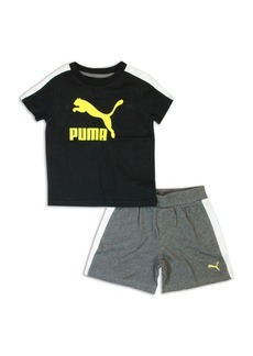 PUMA Little Boy's Two-Piece Logo Tee and Shorts Set