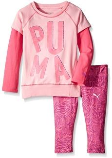 PUMA Girls' Little 2 Piece Animal Print Long Sleeve Tee and Legging Set