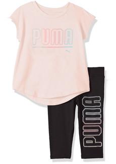 PUMA Little Girls' 2 Piece Jersey Tee and Capri Set