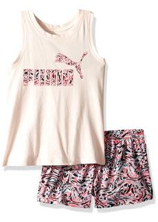 PUMA Little Girls' 2 Piece Tee & Mesh Shorts Set