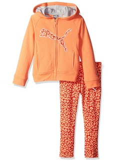 PUMA Little Girls' 2 Piece Zip up Hoodie and Pant Set