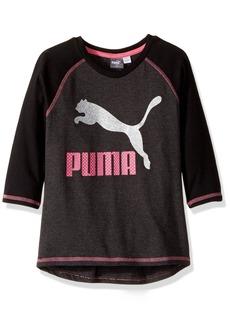 PUMA Little Girls' 3/4 Sleeve Back Scoop Top