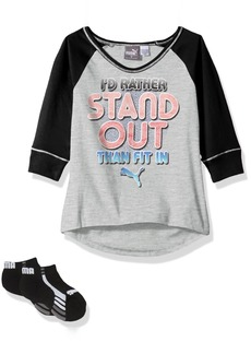 PUMA Little Girls' 3/4 Sleeve T-Shirt and Socks