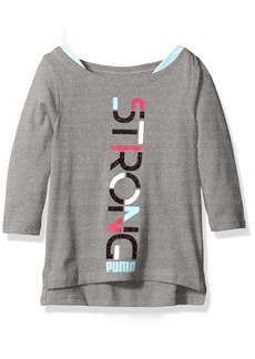 PUMA Little Girls' 3/4 Sleeve Tail Hem Top
