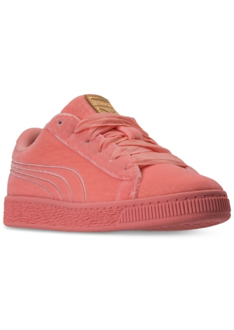 65ff68cc247 Little Girls  Basket Classic Velour Casual Sneakers from Finish Line. Puma