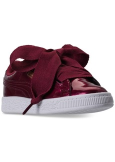 Puma Little Girls' Basket Heart Glam Casual Sneakers from Finish Line