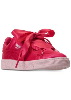 Puma Little Girls' Basket Heart Tween Jr Casual Sneakers from Finish Line