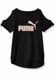 PUMA Little Girls' Cold Shoulder T-Shirt Black
