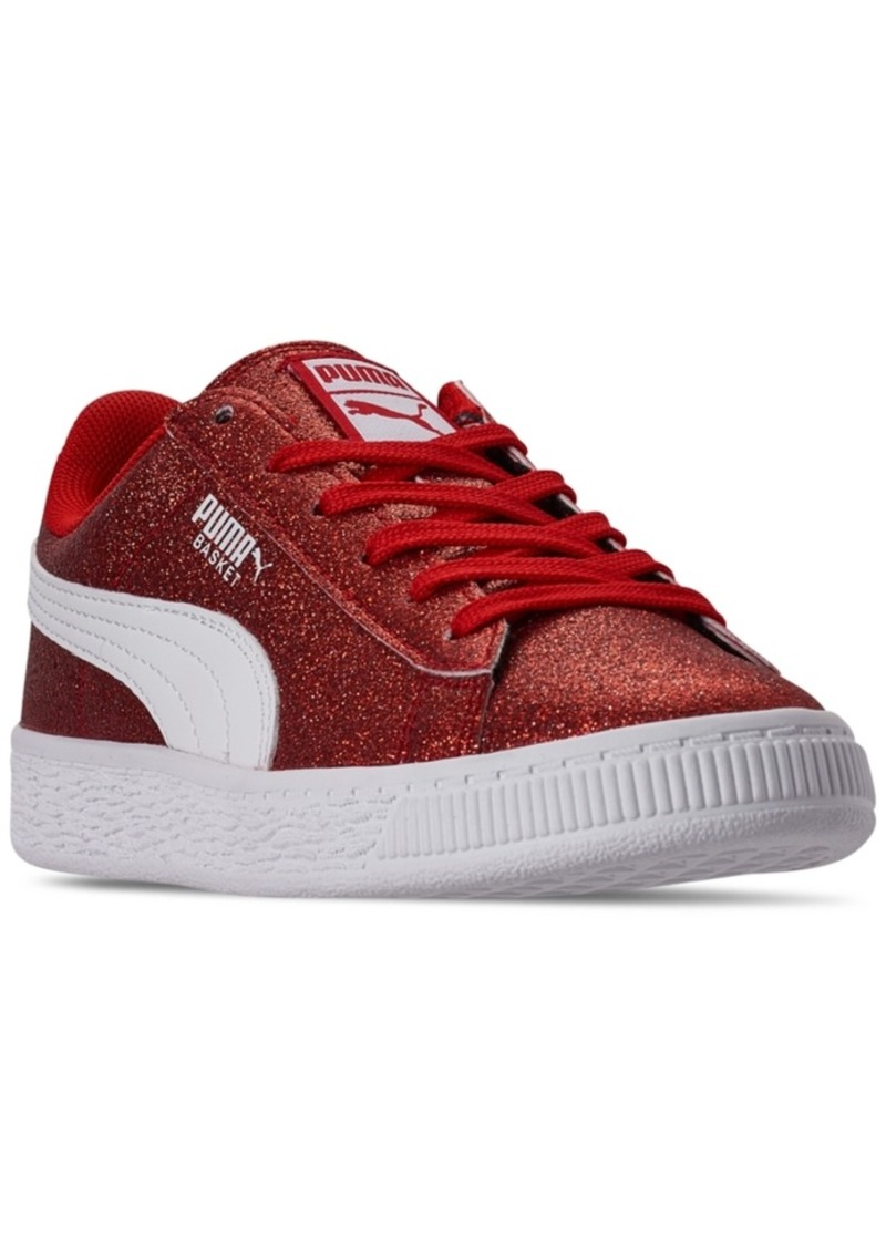 Puma Little Girls Heritage Basket Glitz Casual Sneakers from Finish Line