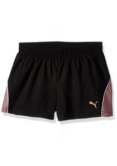 PUMA Little Girls' Pacer Mesh Overlay Shorts Black 5