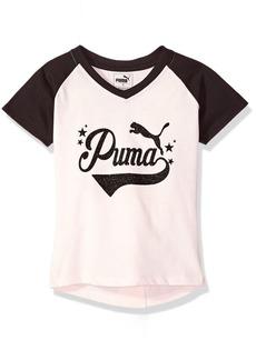 PUMA Little Girls' Short Sleeve V-Neck Tee