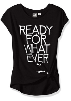 PUMA Little Girls' Side Tie T-Shirt Black