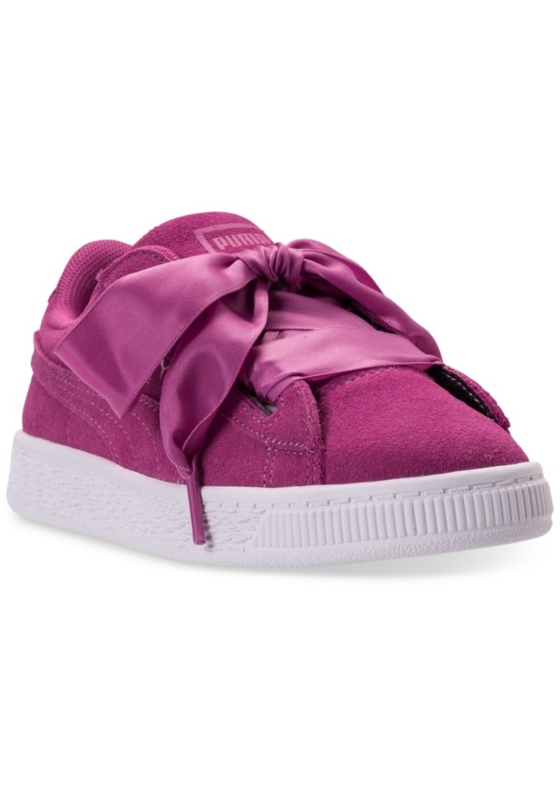 15485fc1879d ... Puma Little Girls Suede Heart Casual Sneakers from Finish Line ... PUMA  Girls Toddler Basket Heart Glam Casual Shoes ...