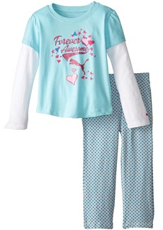 PUMA Little Girls' Toddler 2 Piece Long Sleeve Pant Set