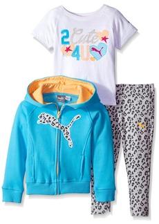 PUMA Little Girls' Toddler 3 Piece Set Zip Jacket Tee and Pant