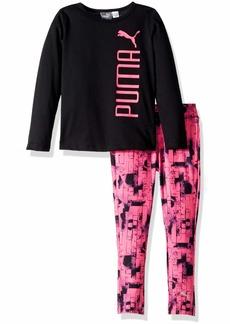 PUMA Little Girls' Top and Legging Set Black 6X