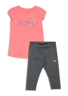 PUMA Little Girls Two-Piece Jersey Tee And Capri Pants Set