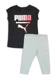 PUMA Little Girl's Two-Piece Logo Graphic Tank and Leggings Set