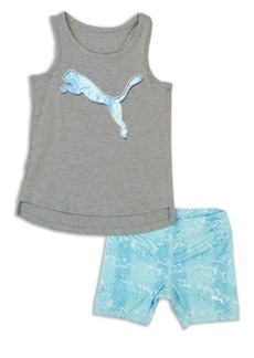 PUMA Little Girl's Two-Piece Logo Graphic Tank Top and Printed Shorts Set