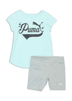 PUMA Little Girls Two-Piece Logo Graphic Tee and Biker Shorts Set