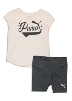PUMA Little Girl's Two-Piece Logo Graphic Tee and Shorts Set
