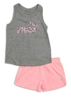 PUMA Little Girl's Two-Piece Logo Tank Top and Shorts Set