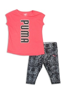 PUMA Little Girl's Two-Piece Logo Tee and Leggings Set