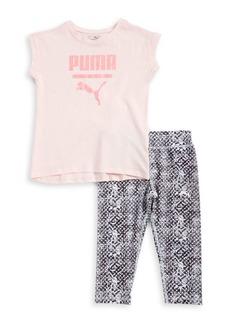 PUMA Little Girls' Two-Piece Logo Tee and Leggings Set