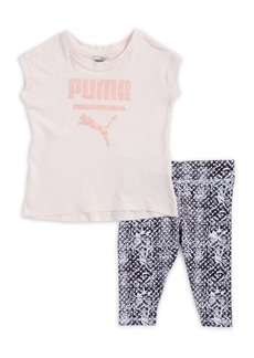 PUMA Little Girl's Two Piece Logo Tee and Print Capri Leggings