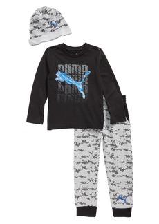 PUMA Logo T-Shirt, Jogger Pants & Beanie Set (Toddler Boys & Little Boys)